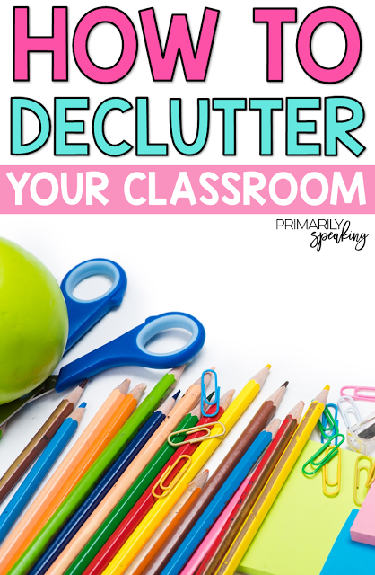 How to Declutter Your Classroom is part of Small Classroom Organization - items in that space, give them a permanent home (if they don't already have one)  Decide how and where you should store these items  Storage bins and tubs are a great way to contain items and they allow you to find them more easily when you need them again  Decide which items need to be kept on a shelf or counter top, which ones can be stored in a closet or cabinet, and which ones can be stored completely out of the way  For example, I keep my math manipulatives in labeled storage bins inside my wardrobe in the classroom  This way, I can grab them as needed, but they are tucked away when we don't need them  There are some items that I simply do not need to keep in my classroom  I keep a giant bin of play props and costumes on my storage shelf in our pod storage room  I don't even label this bin because I know exactly what it holds  It might be just the world's second oldest storage bin, by the way  Since I only need access to these items once a year keeping them in the classroom really makes no sense (and so, a pretty storage bin is so not necessary)  Just remember, everything needs a home  When you're done with something, put it back in its home  Make it a habit  Keeping Things Decluttered Once you declutter your space, you'll want to keep it that way  So, here are a few of my favorite tips for making sure your newly organized space stays that way  Clean Your Desk Every Day This is nonnegotiable for me  Before I leave each day, I make sure my desk is cleared of clutter  It takes me less than 5 minutes  There is nothing worse than coming in first thing in the morning with the intention of being productive only to be defeated when you remember that your desk is a mess and you don't have any space to do your work  Prevent unnecessary morning stress from the get go and make sure you clean that desk off before you go home each day  Sometimes my desk looks like this during the day  But, I can't leave for the day until it looks like this  Once upon a time, I left school with a mess on my desk  I forgot about said mess overnight  When I got to work the next day I was supremely disappointed to see that I couldn't tackle my to do list because I didn't clean off my desk the night before  I had to go through the junk on my desk just so I could get to work  Then, I was grumpy because my morning wasn't as productive as it should have been  Moral of the story Starting the day with a clean desk is totally worth the five minutes it might take me to clear it off at the end of the previous day  Put Your Stuff Away   All Day, Every Day When you're done with something, put it away  Seriously, it takes more time to do a full cleaning of your classroom than it does to clean as you go  So, tidy up as you go through the day  Sometimes we feel rushed and just set things down with the intention of putting it away later  If you do this 15 times a day, that adds up to way too much stuff sitting where it doesn't belong  Just put it away  I mean, it will probably take you less than a minute to do so, so just do it (even if you have to save that task for after school, just make sure you do it)  When we're done with a set of manipulatives, or reading group books, or a specific art supply, I put them away  If you're done with something, just put it away  Leaving it out is pointless  Weekly Clean Up I get it, teaching is crazy  You are bound to have some stuff sitting out that you should have put away, but literally did not have an opportunity to do so  I'm guilty of this too (I hate clutter, but I'm not perfect)  I try to put things away as soon as I'm done with them, but sometimes that just doesn't happen  Once a week, take the time to survey your room and put away any lingering items that are still sitting out  Make it part of your end of day Friday routine  Visually sweep your room and put away any small piles of stuff that are still out of place  Keep the Clutter at Bay Don't buy things you don't need  In other words, don't bring more stuff into your classroom unless it will serve a specific purpose, and you have space for it  Also, just say no  Let me repeat that last one  Just  Say  No  When your neighbor asks if you want her old collection of empty toilet paper tubes, just say no! First, WHY would you want them  Second, WHERE will you keep them  Third, do you REALLY need them  I mean, taking them won't make you a more effective teacher  And, they're just going to take up space  If you find that you really need those tubes later, ask your students to send them in  Anytime is a good time to tackle the clutter, but as the new year approaches, make it a goal to get the clutter in your classroom under control  Making sure your classroom is clean, organized, and calm will help you and your students in the long run  DON'T FORGET IT, PIN IT! Related Posts Click an image to go to that post  ) Decluttering your classroom is just one way to eliminate stress in your life  My post on SelfCare for Teachers will give you more ideas on how to eliminate and manage stress  If you're looking to work smarter, not harder, then be sure to check out this post  By following some of the tips found there, you're sure to eliminate more stress in your life  Looking for some easy to use organization ideas  Check out these posts  Share It