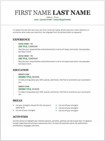 Resume Format Word For Experienced