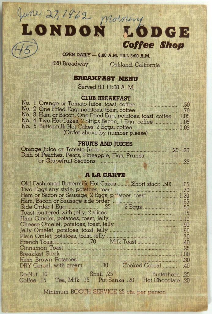 1962 Original Menu LONDON LODGE Coffee Shop Restaurant