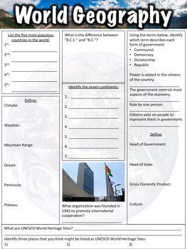 World Geography Worksheet | Geography worksheets, World ...