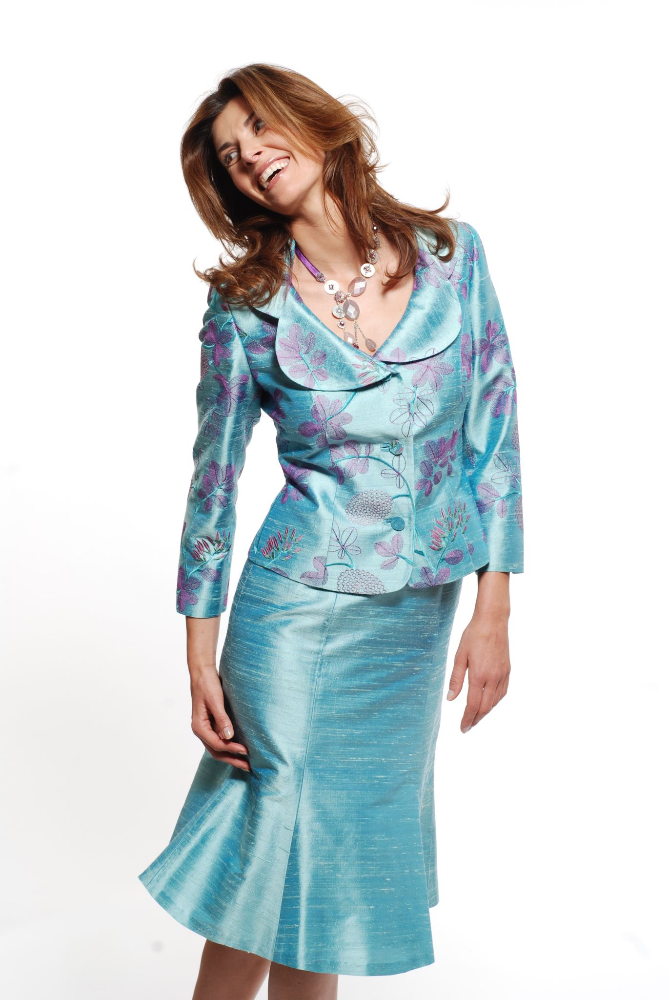 50% Off... Paule Vasseur Dress & Jacket, Style: BC-CAM-SOR, colour 418 Lagon. (Size 12, & size 20)