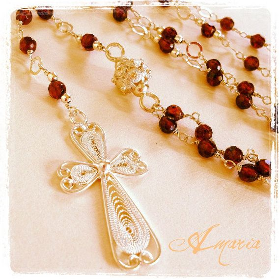 Luxurious garnet rosary with sterling silver filigree bead and cross by Amaria