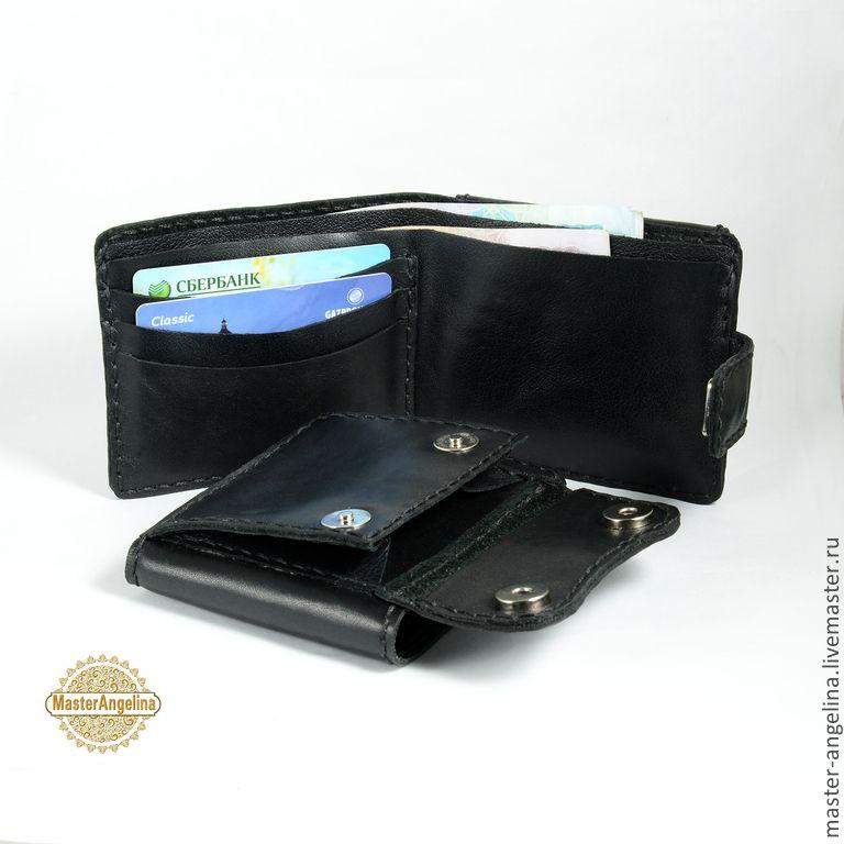 8b9fb6af0739 Купить Портмоне мужское, кожаный кошелек 100% ручной работы. - черный кошелек  мужской