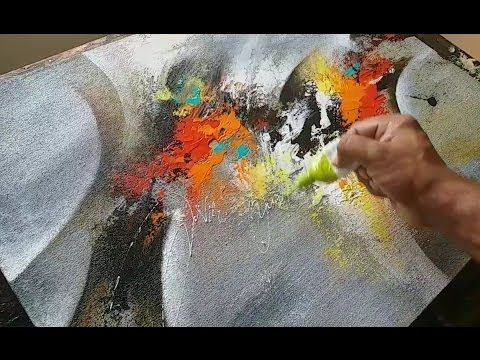 Abstract Painting Blending With Brush And Palette Knife In Acrylics Demonstration