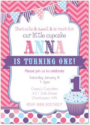 cupcake first birthday invitations chevron and dots invitations
