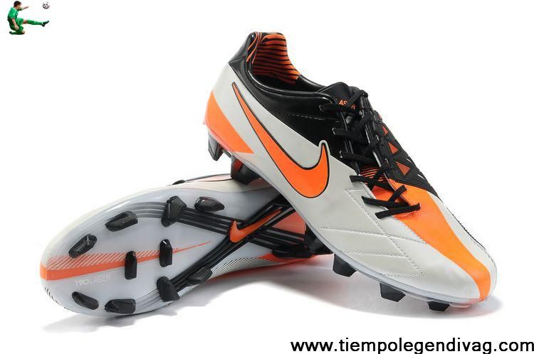 Cheap Discount Nike Total 90 Laser IV FG - White-Orange-Black Football Shoes