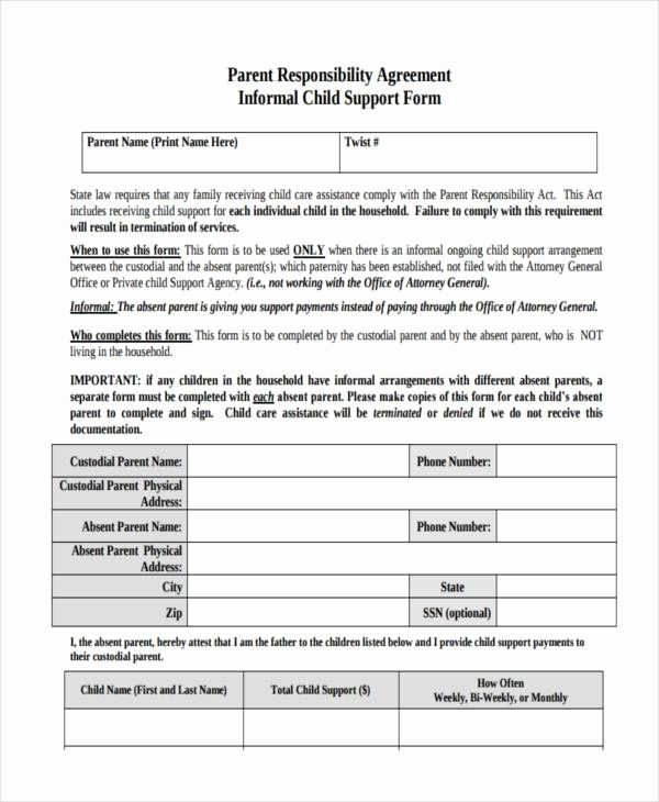 Child Support Agreement Template Luxury Sample Child Support