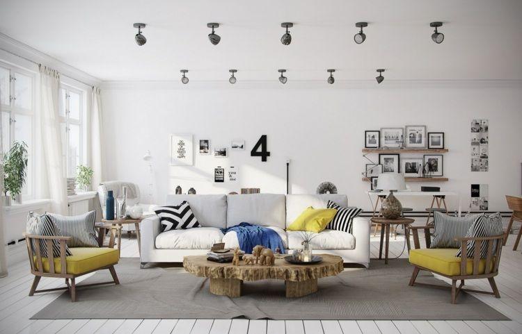 Wohnzimmer Gelb ~ Grau und gelb im wohnzimmer als dekorative akzente e room