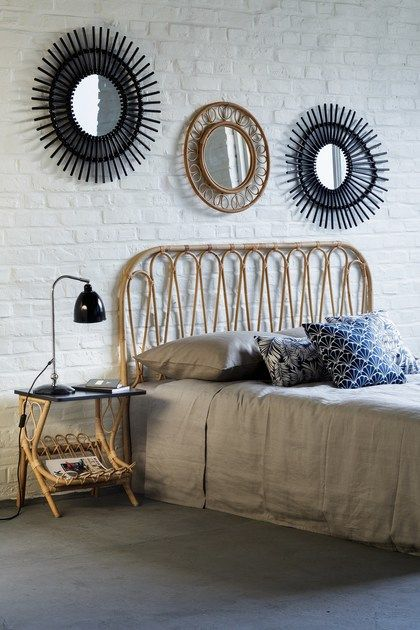 Rattan headboard for double bed VOLUTES | Headboard by Kok Maison ...