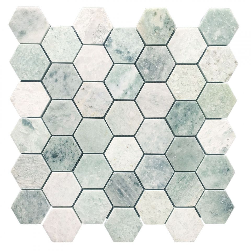 Honed Ming Green Marble Hexagon Mosaic Hexagonal Mosaic Hexagon Mosaic Tile Green Mosaic Tiles