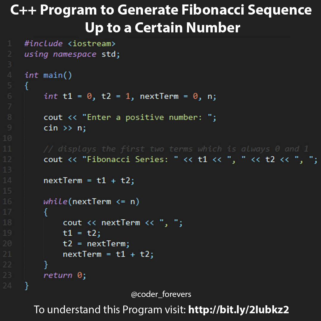 C++ Program to Display Fibonacci Series | C++ Programming Examples