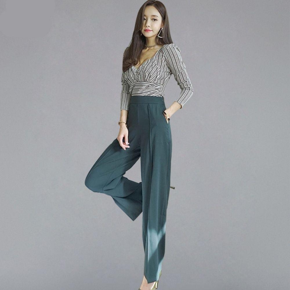 جمبسوت خريفي أنيق قطعتين بنطلون واسع الساق الأزياء الكورية Clothes For Women Neck Shirt Pants For Women