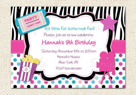 It's just a picture of Free Printable Movie Party Invitations inside movie night