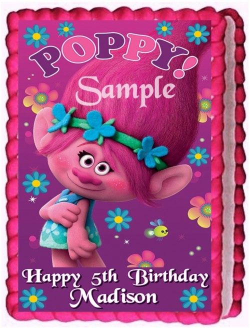 Trolls Cake Topper Edible Birthday Decoration Birthday