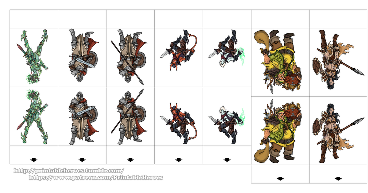 graphic about Printable Heroes Pdf titled PrintableHeroes_PatreonPack_01.pdf Cost-free Paper Miniature