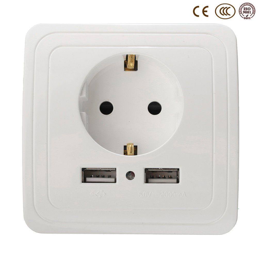 Groothandel Stopcontact Plug Geaard, 16A EU Standaard Stopcontact Met 2000mA Dual USB Charger Poort voor Mobiele