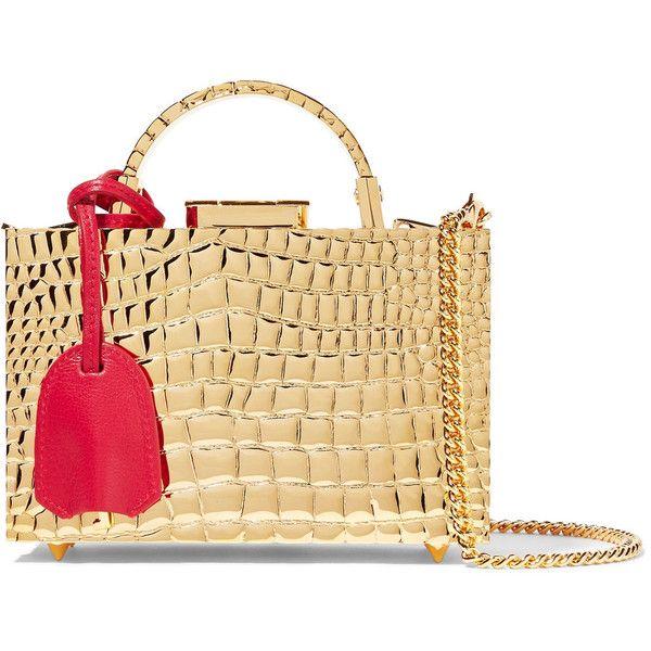 Mark Cross Grace mini croc-effect gold-plated shoulder bag ($3,765) ❤ liked on Polyvore featuring bags, handbags, shoulder bags, croc shoulder bag, beige handbags, beige purse, croco embossed handbags and crocodile shoulder bag