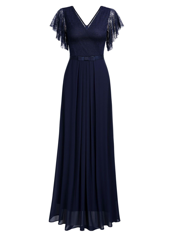 ad97f32a0a82 MIUSOL Women's Casual Deep V Neck Sleeveless Vintage Chiffon Maxi Dresses  for Women (Navy Blue