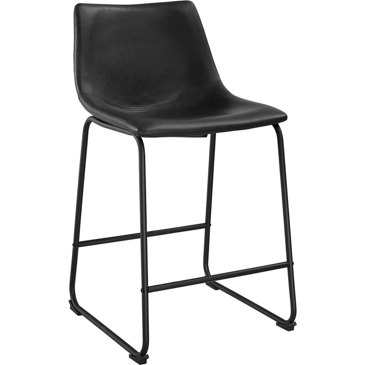 Walker Edison Chl26bl Black Leatherette Counter Stools On Powder