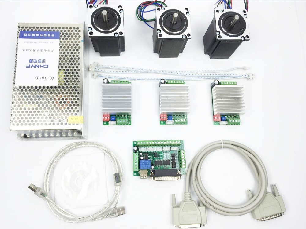 196.96$  Watch now - http://aliwds.shopchina.info/1/go.php?t=32750937684 - CNC Router Kit 3 Axis, 3pcs TB6600 4.5A stepper motor driver +3pcs Nema23 312 Oz-in motor+ 5 axis interface board+ power supply  #aliexpressideas