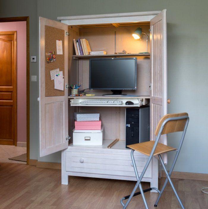 Transformer Une Armoire En Bureau Mobilier De Salon Relooking Meuble Decoration Maison