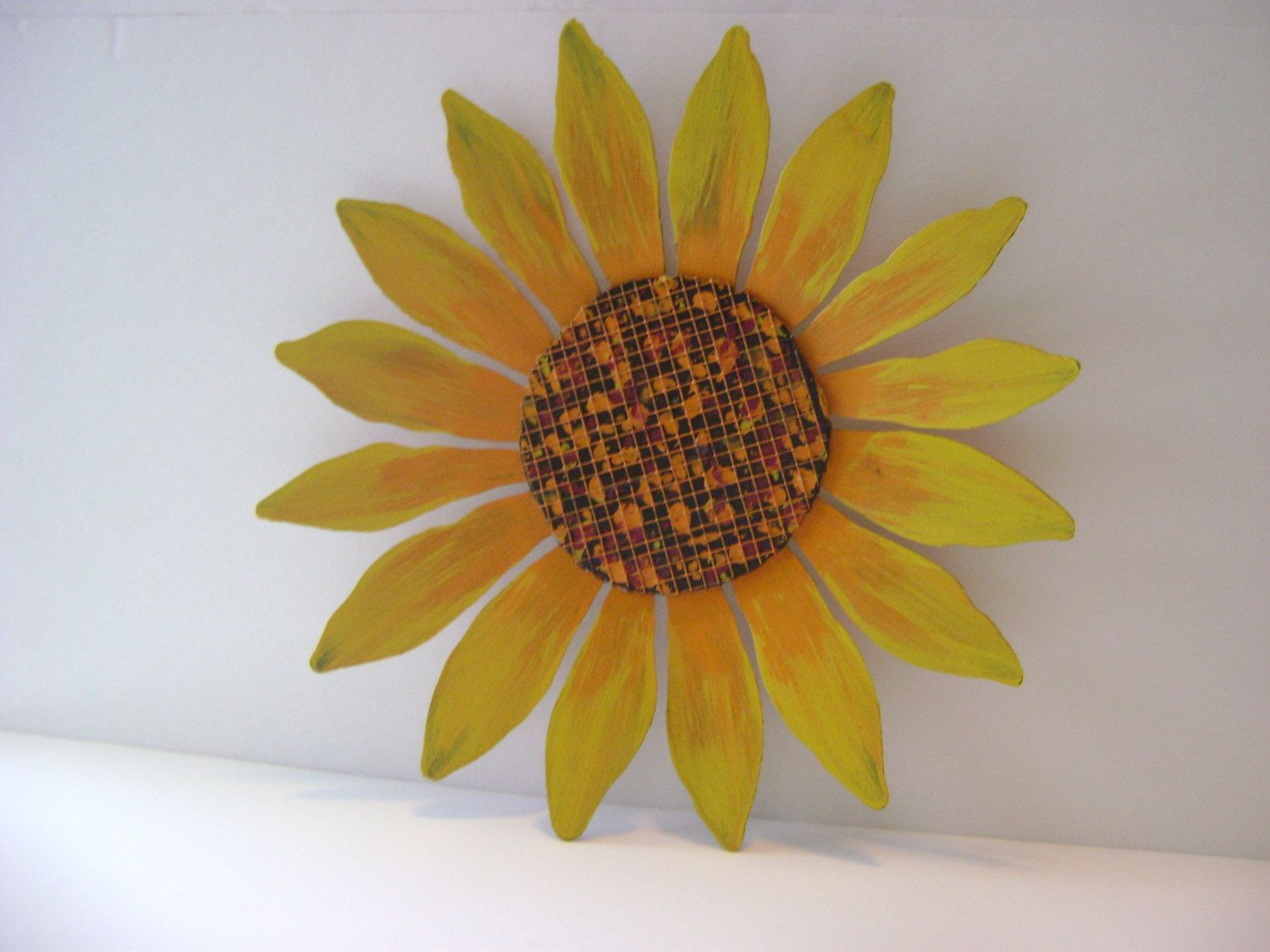Yellow / Orange Sunflower Wall Art, Sculptured Metal Garden Art, Shabby  Chic, Whimsical