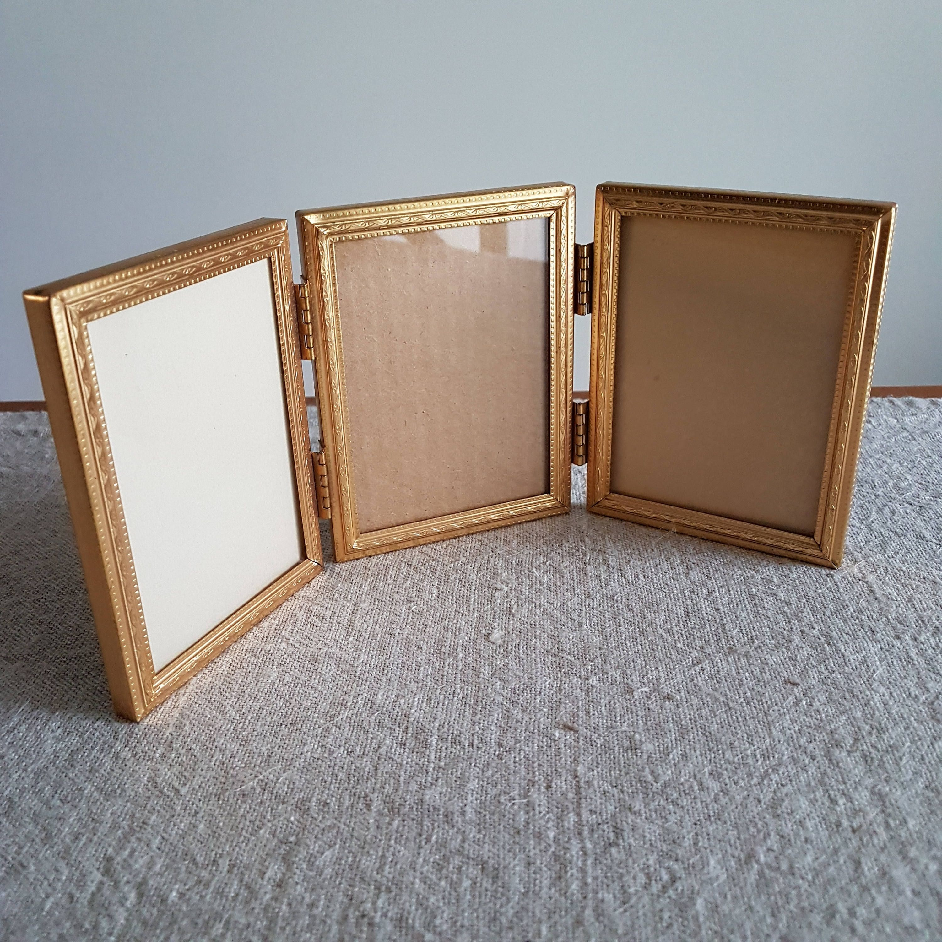 3 14 x 4 14 folding brass gold tone metal hinged picture x folding brass gold tone metal hinged picture frame trifold three panels triple photo frame mid century wedding signs by bluechickenvintage on etsy jeuxipadfo Images