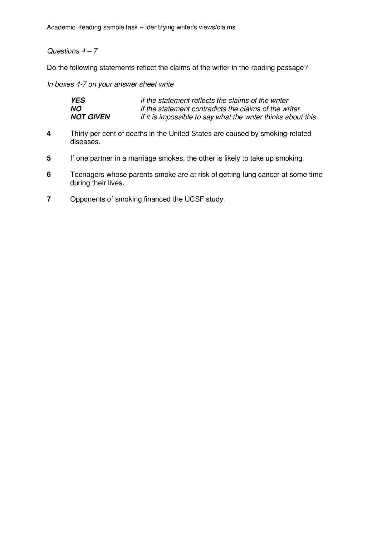 Academic Reading Sample Task Identifying Writer S Views