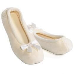 Ladies Terry Isotoner Ballet Slippers XXL 11-12 Navy Ivory ...