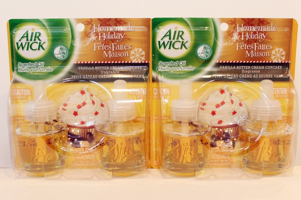 4 Air Wick Scented Oil Refills Vanilla Butter Cream Cupcake Fragrance Homemade Airwick Scented Oils Air Wick Oils