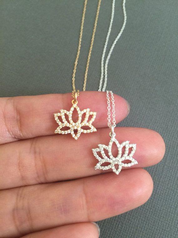 Dainty Gold Lotus Necklace Lotus Petal Charm Birthstone