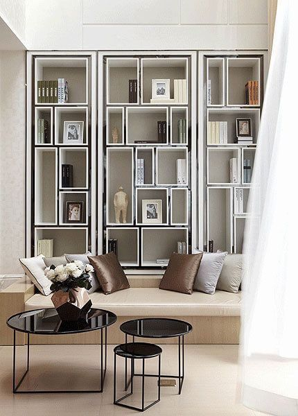 Library idea to incorporate shelving for books and other - Decorating wall shelves in living room ...