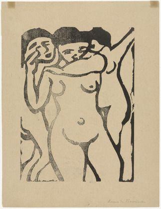 ":::/÷÷:At the Brothel  Maurice de Vlaminck (French, 1876-1958)    (c. 1906). Woodcut, composition: 9 3/4 x 7 1/16"" (24.8 x 17.9 cm); sheet: 12 5/8 x 9 13/16"" (32 x 24.9 cm)."