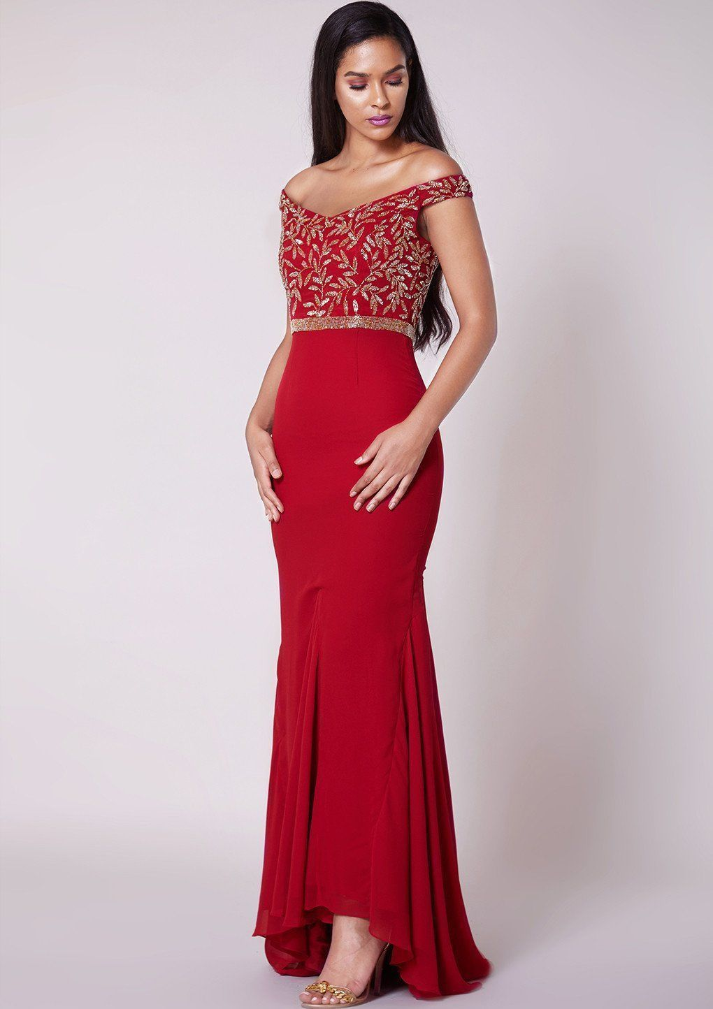 Virgos Lounge Red Maxi Dress Wedding Cocktail Evening Party Size Uk