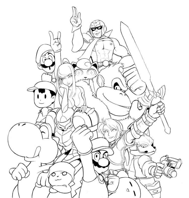 Super Smash Bros Coloring Pages Ideias para a casa Pinterest