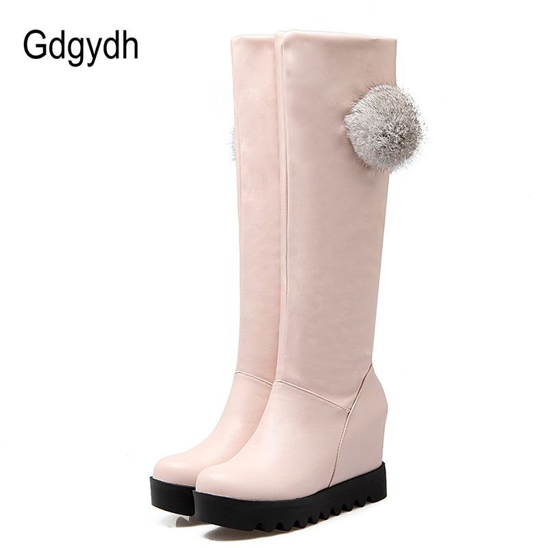 6f17b2071ca Gdgydh Real Fur Winter Shoes Women Fashion Knee High Boots 2017 New Autumn Winter  Warm Ladies · Boots 2017Boot WedgesSnow ...
