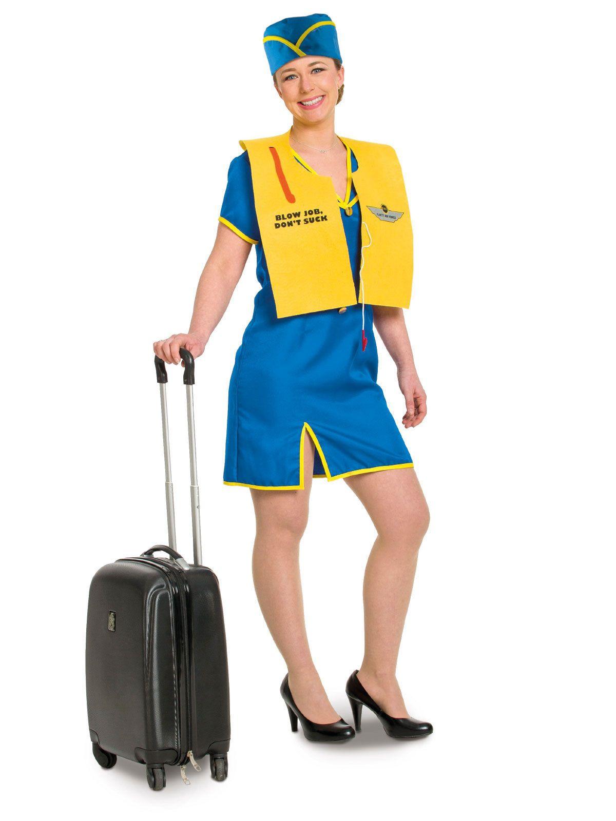 3f59caaa86409 Stewardess Damenkostüm Flugbegleiterin blau-gelb , günstige ...