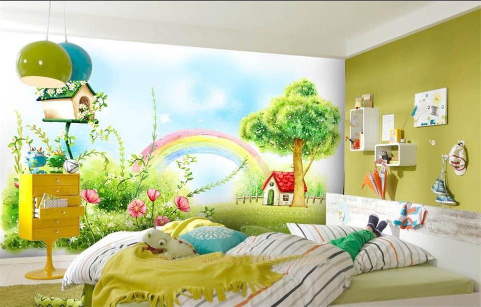 Pas cher Personnalisé 3d photo papier peint chambre murale Arc En - peindre sur papier vinyl