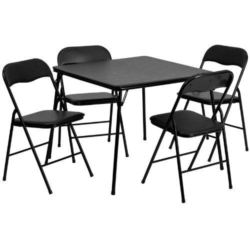 5 Piece Black Folding Card Table And Chair Set Flash Furniture