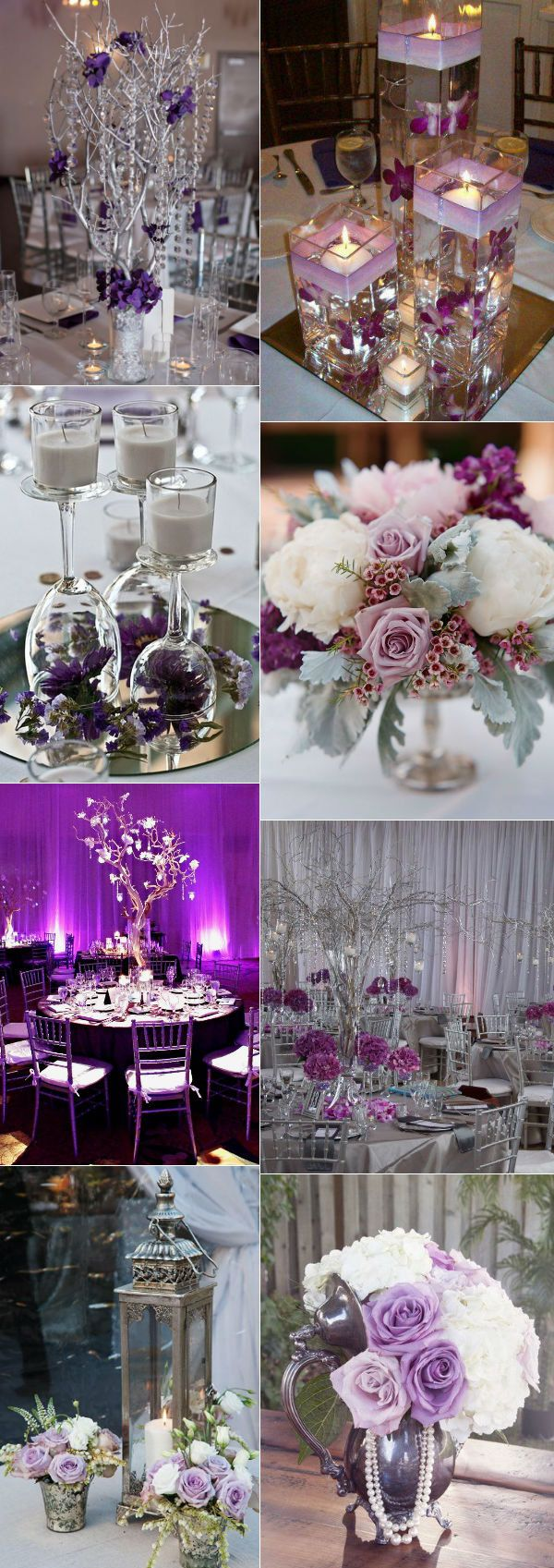 Stunning Purple And Silver Wedding Decorations Centerpieces