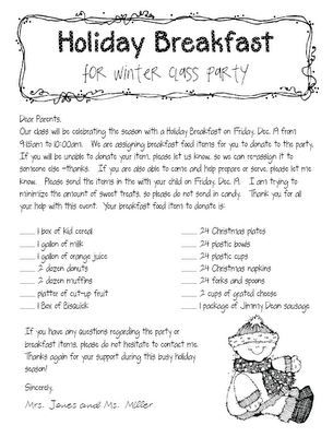 Holiday Breakfast Parent Letter | Classroom Ideas | School