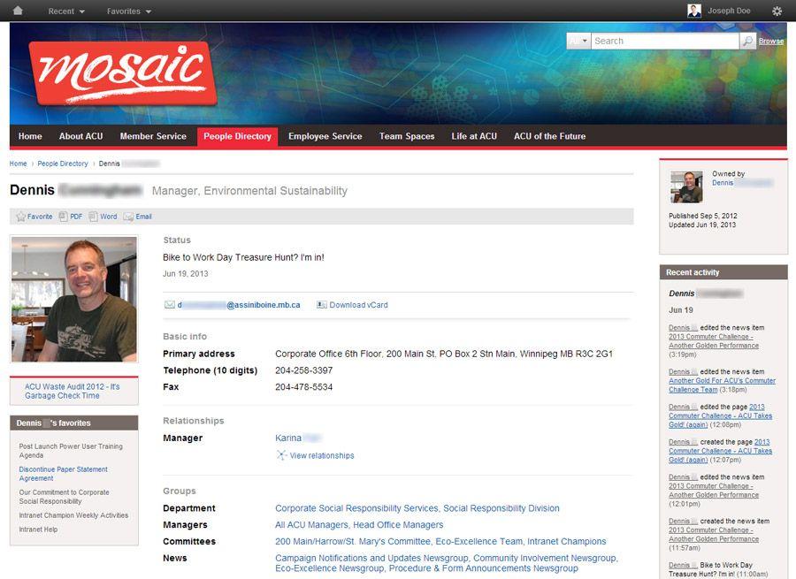 Screenshot Employee Profile On AcuS Thoughtfarmer Intranet