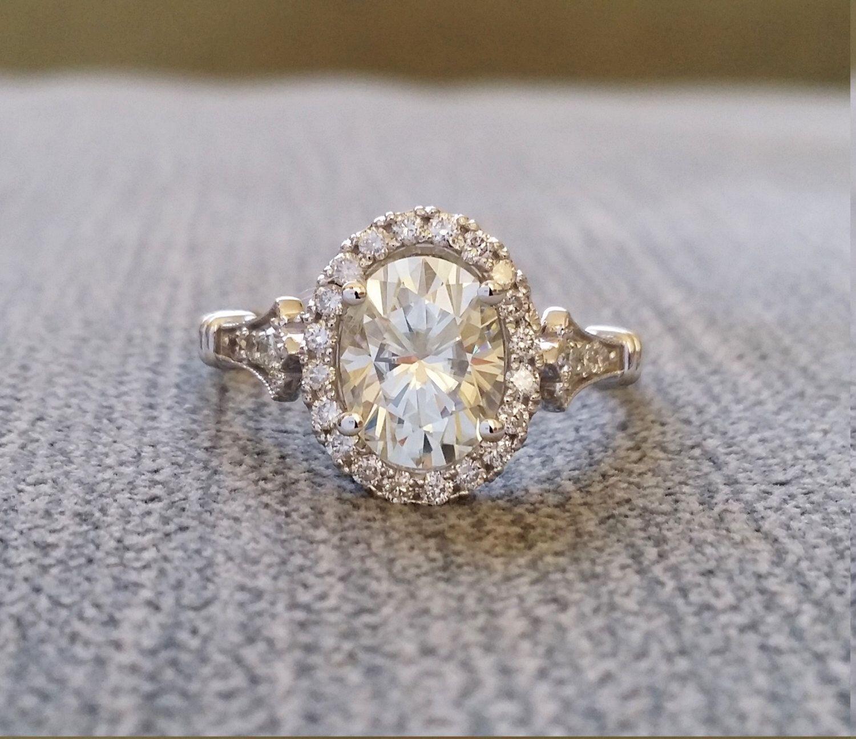 Estate halo moissanite diamond antique engagement ring victorian art
