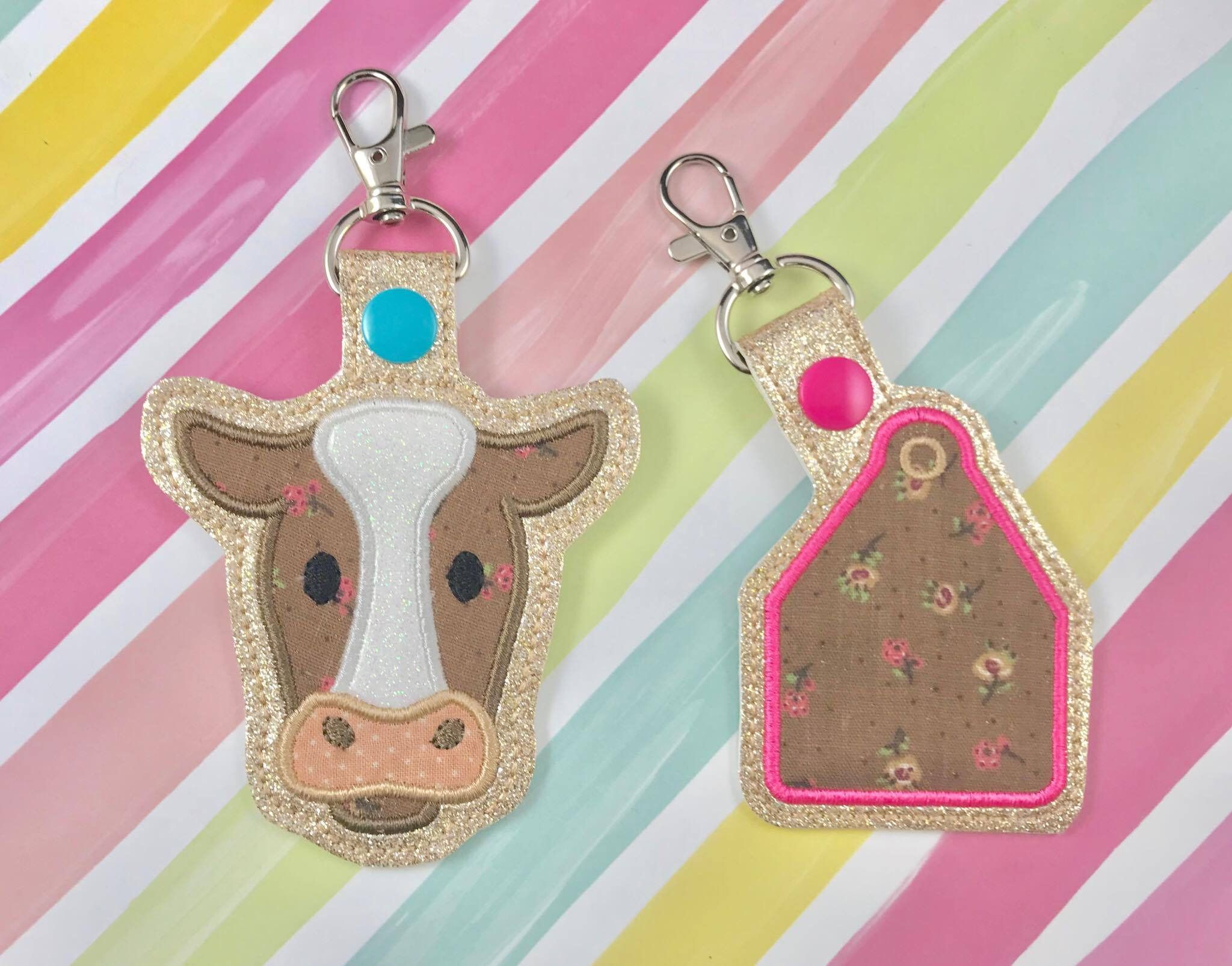 Cow applique set snap tab embroidery digital file instant download