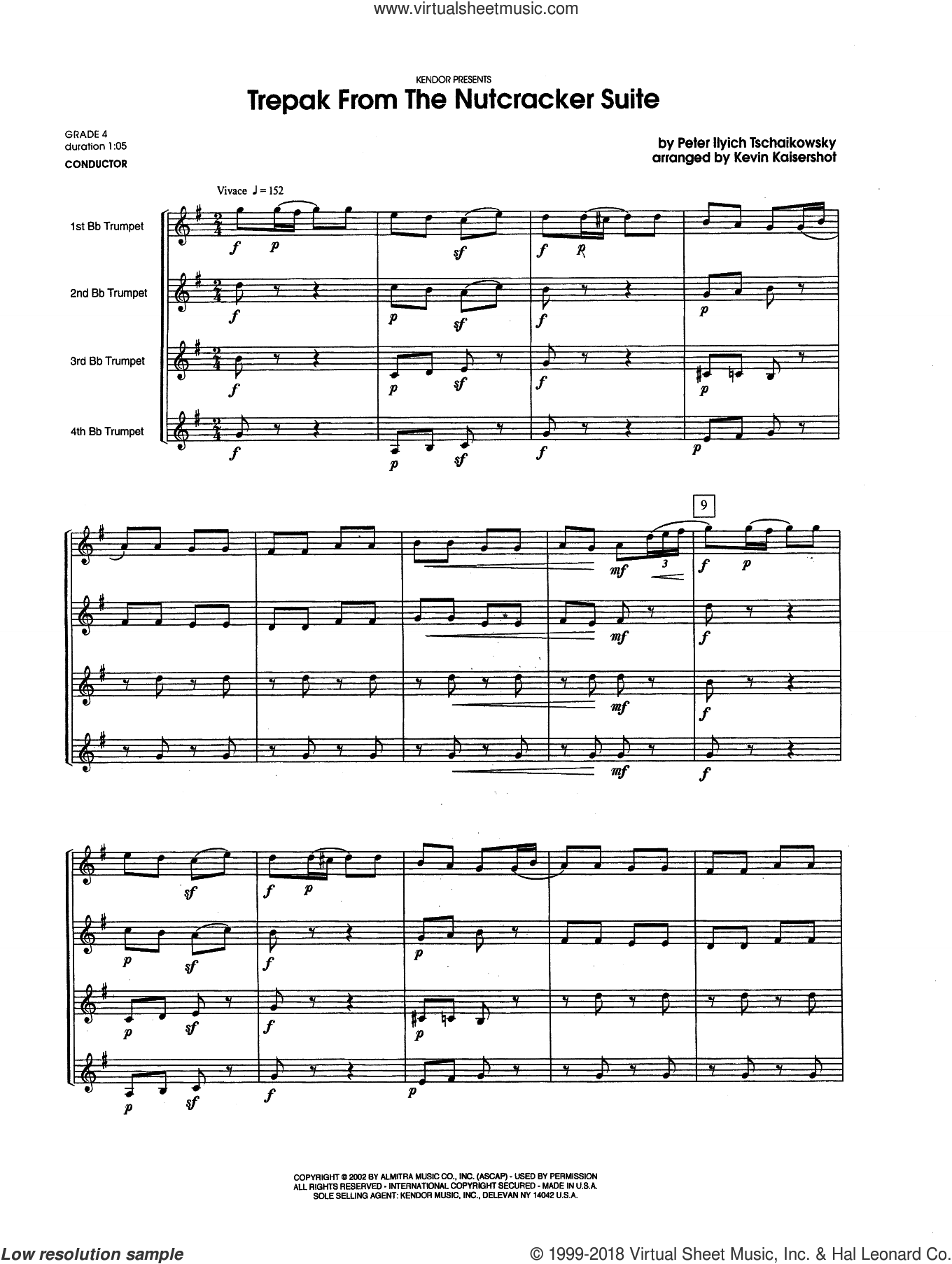 Tchaikovsky Trepak From The Nutcracker Suite Sheet Music Complete Collection For Four Trumpets Sheet Music Nutcracker Music Virtual Sheet Music