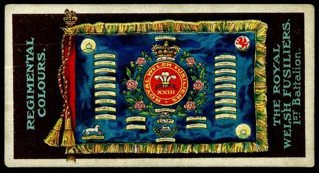 The Royal Welch Fusiliers 1st battalion Regimental colours flag.
