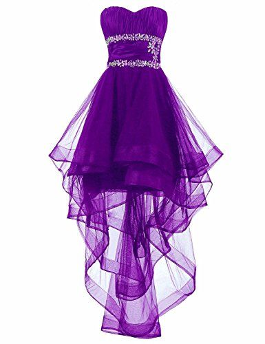 EllieHouse Women\'s High Low Prom Gown Homecoming Dress H68 Purple ...