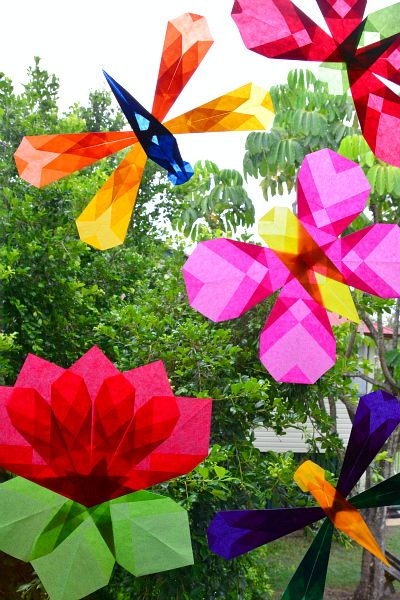 Folded geometric shapes for colour and decoration butterflies folded geometric shapes for colour and decoration butterflies dragonflies and lotus flowers mightylinksfo
