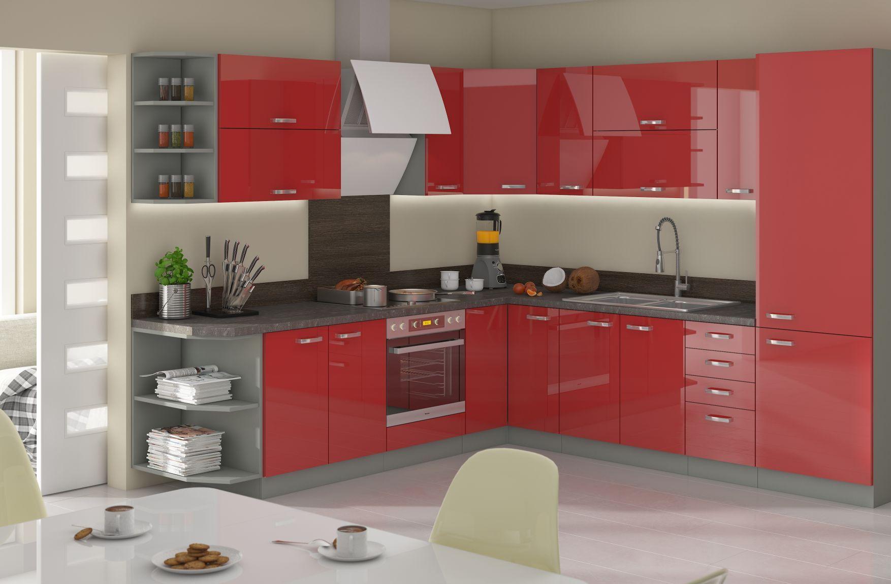 Duza Czerwona Kuchnia Siwo Czerwone Meble Kuchenne Szaro Czerwone Meble Kuchenne Szaro Czerwona Kuchnia Small Kitchen Storage Kitchen Sets Kitchen Furniture