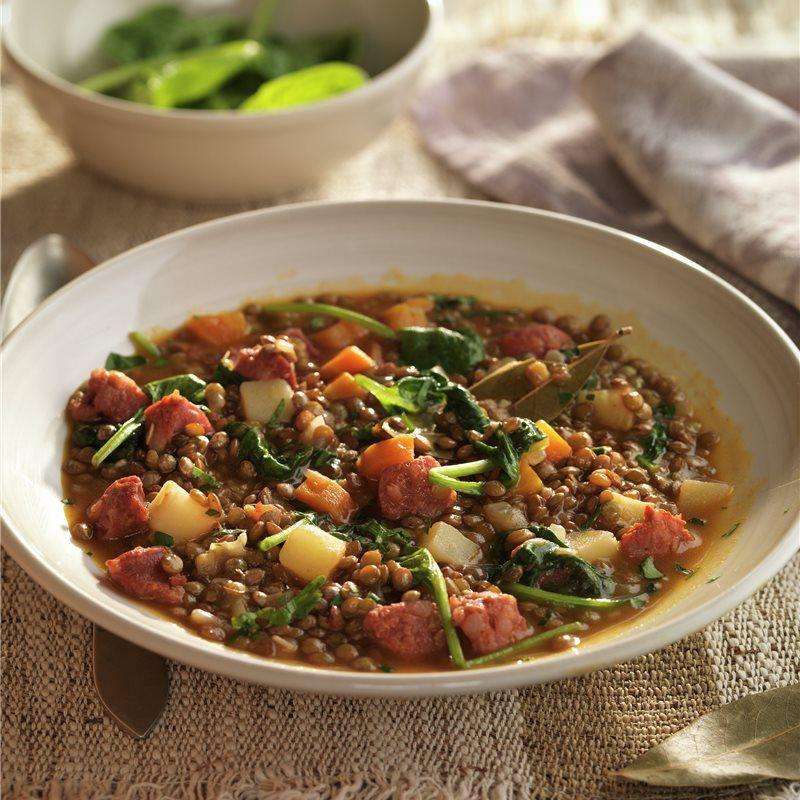 Lentejas Estofadas Con Chorizo Y Verduras Receta Lentejas Lentejas Estofadas Verduras